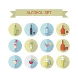 Color wine icons. This is flat liner design icons of alcohol topic. It include wine bottle, flask, champagne, cocktail, aperitif, glasses, short, beer. Useful Stock Images