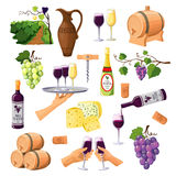 Color Wine Icons Set On White Background Royalty Free Stock Photography