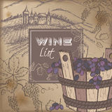 Color wine list template with castle, vineyard and grapes Stock Image
