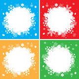 Color vector winter backgrounds with white snowflakes Stock Photography
