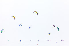 Color winter kiteboarding Stock Photo