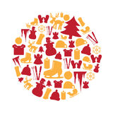 Color winter and xmas icon set in circle eps10 Stock Photography