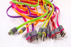 Color wires with plugs Royalty Free Stock Photography