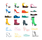 Color Woman Shoes Set. Vector. Color Woman Shoes Set Fashion Seasonal Shopping Thin Line and Flat Design Style. Vector illustration Royalty Free Stock Images