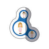 Color women connection her daughters icon. Illustraction design Stock Photography