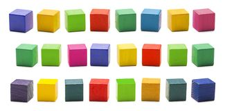 Color Wood Blocks Toys, Blank Multicolored Wooden Cube Bricks stock photo