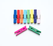 Color wood clip. Royalty Free Stock Photos