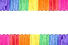 Color wood ice-cream stick frame background Stock Photo