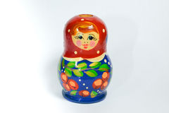 Color woodcarving red blue doll Royalty Free Stock Image