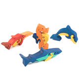 Color wooden fish toys Royalty Free Stock Images