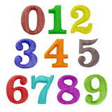 Color wooden numbers. On white Stock Photos