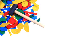 Color wooden toy shapes. Isolated on the white background Stock Photo