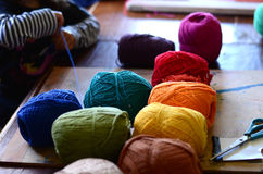Color wool. Little child working with color wool. Artistic workshop. Preschooler education Stock Image