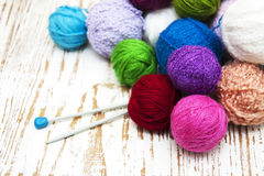 Color woolen clews Stock Photo