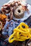 Color woolen yarn royalty free stock images