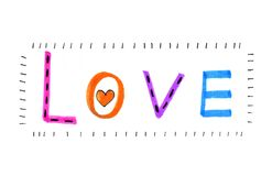 Color word `Love` with abstract heart Stock Image