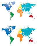 Color World Map. Continent and Country map separated by color Stock Images