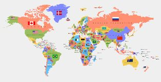 Color world map with the names of countries and flags. Political map. stock illustration