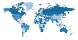 Color world map. Political map. royalty free illustration