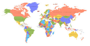 Color world map. Political map. Royalty Free Stock Photos