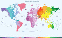 Color worldwide map of local time zones Royalty Free Stock Photos