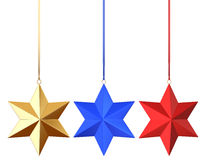 3 color xmas stars. Isolated on the white background Royalty Free Stock Photos