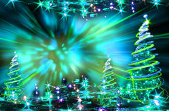 Color xmas tree. Xmas tree (lights) on the color background Stock Photo