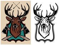 Color y monocromo heráldicos de los ciervos de los animales Fotografía de archivo libre de regalías