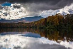 Color y reflexiones del otoño en Julian Price Lake, a lo largo del azul Fotos de archivo libres de regalías