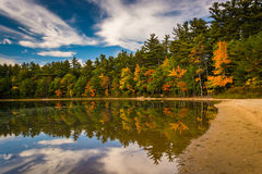 Color y reflexiones tempranos de la caída en Echo Lake en Echo Lake State Imágenes de archivo libres de regalías