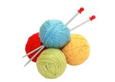 Color yarn balls and knitting needles Stock Image