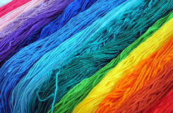 Color yarn. Colorful yarns for embroidering colors Royalty Free Stock Photo