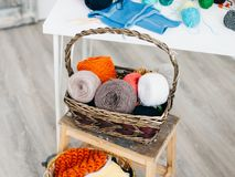 Color yarn for knitting in basket Stock Images