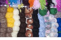 Color yarn for knitting. Hanks of color yarn for knitting in shop Stock Image