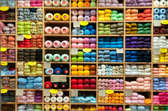 Сolor yarn in shop (store) Stock Photo