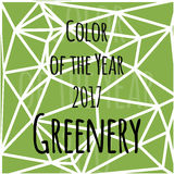 Color of the year 2017 infographic. Color of the year 2017 greenery in triangular style stock illustration