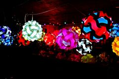 Color your life with beautiful lights. Lamps in beautiful colors and strange shapes Royalty Free Stock Photography