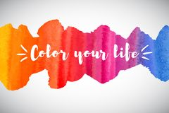 Color your life motivation quote, watercolor rainbow border,. Watercolor vector rainbow border or frame with inspiration, motivation, optimistic, encouraging Royalty Free Stock Photos