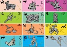 Color zodiac symbols Royalty Free Stock Photography