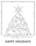 Coloração da árvore de Natal Fotos de Stock