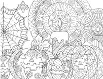 Coloração da abóbora de Dia das Bruxas ilustração do vetor