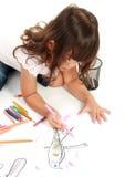 Coloração da menina no papel foto de stock