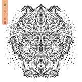 coloração Ilustração abstrata das linhas criadas doodle Fotos de Stock