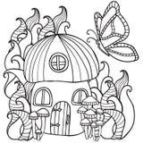 A coloração pagina a casa do cogumelo com uma borboleta nas frentes Fotografia de Stock