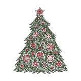 Coloração para a árvore de Natal dos adultos Imagens de Stock