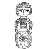 Coloração para adultos Estátua étnica, escultura, boneca com testes padrões Cópia no t-shirt, tatuagem garatuja, estilo do zentag Fotografia de Stock