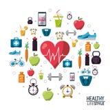 Colora ícones saudáveis do estilo de vida do esporte dos elementos do cartaz Imagem de Stock