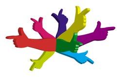 Colora as mãos Imagens de Stock