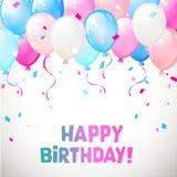 Colora balões lustrosos do feliz aniversario fotografia de stock