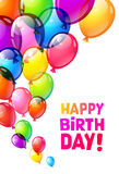 Colora balões lustrosos do feliz aniversario imagens de stock royalty free